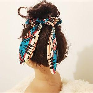 Unique Handmade Tribal Print Bow Scrunchie